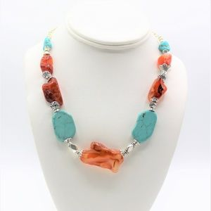 Turquoise and carnelian chunky necklace
